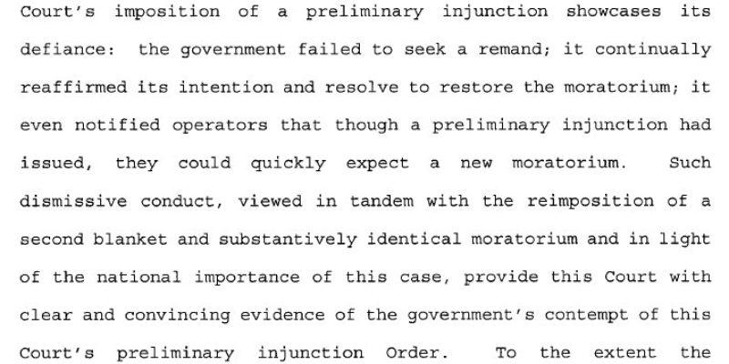 Feldman Issues Civil Contempt Order To Interior On Offshore Moratorium
