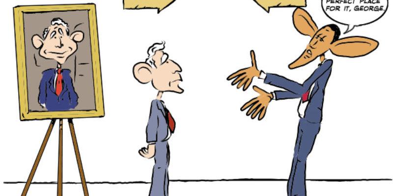 Hayride Cartoon: Bush's White House Portrait Arrives…