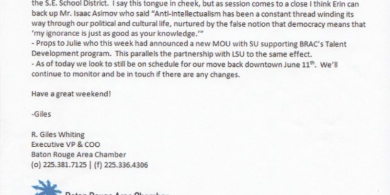 OUCH: E-Mail From Baton Rouge Area Chamber Escapes, Stir Ensues (Updated)