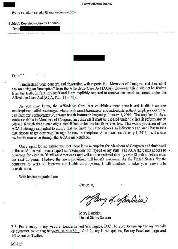 landrieu letter