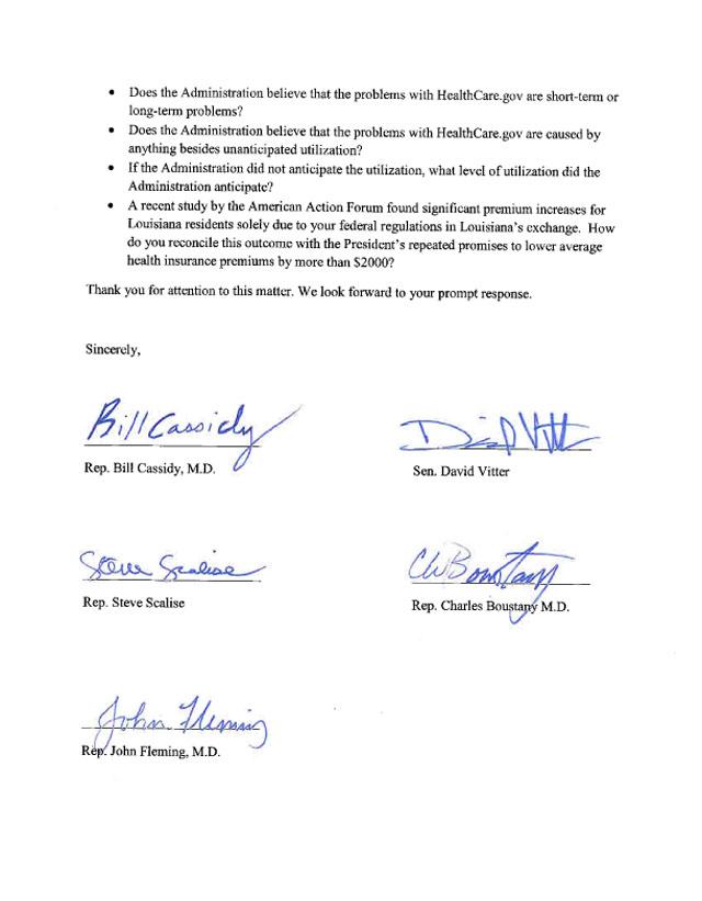 Louisiana Delegation Letter to Sebelius-2