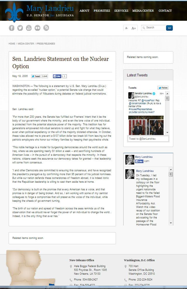 Landrieu Nuclear Statement