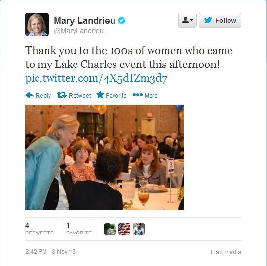 landrieu lake charles fundraiser tweet