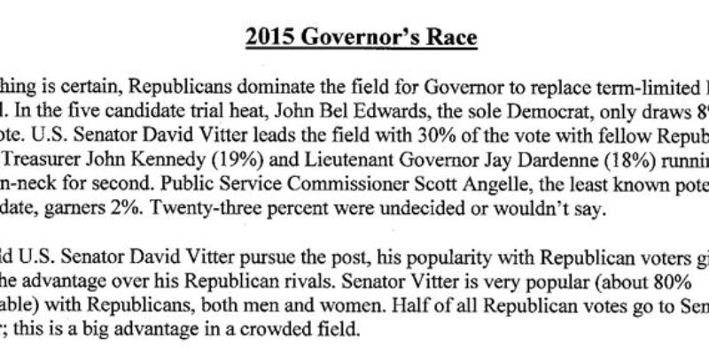 Vitter Finally Signals He's Running For Governor In 2015