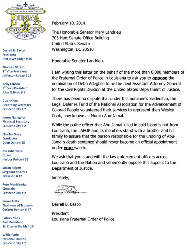 Abu Jamal Oppose Letter