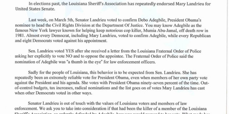 DORE: The LAGOP's Letter To The Louisiana Sheriff's Association