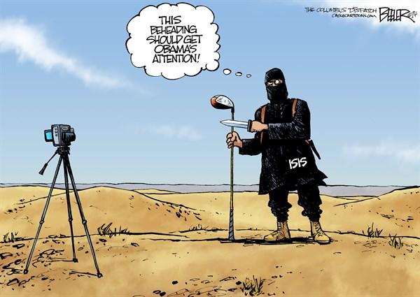 Bush swinging on gun cartoon