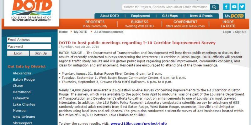 HUDSON: DOTD $2 Million Dollar Review of I-10