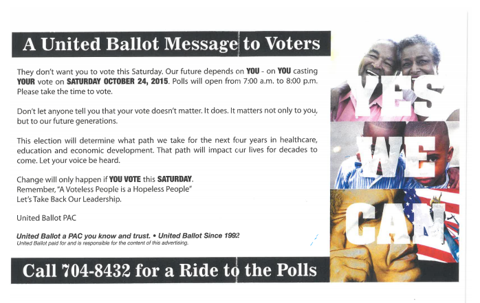 Here s the mail out that united ballot is circulating