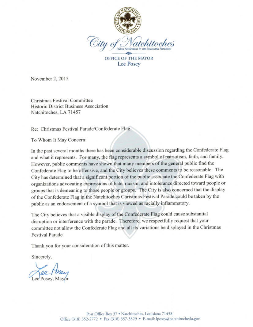confederate flag letter