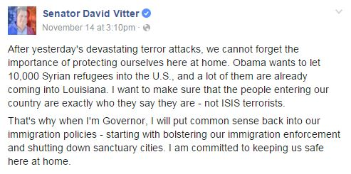 vitter on syrian migrants