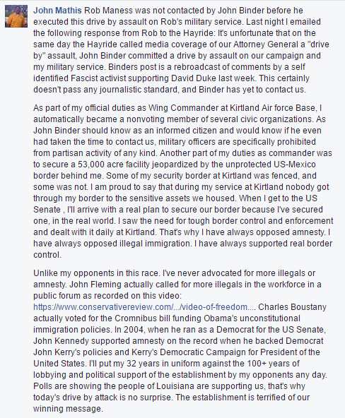 Maness campaign statement