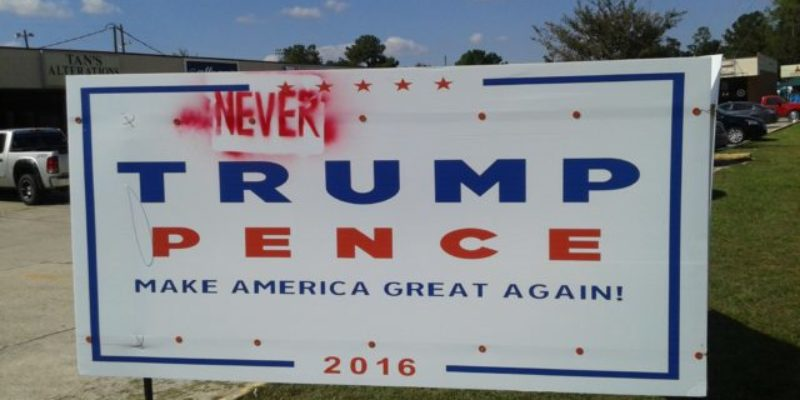 EXCLUSIVE: Big Trump-Pence Sign Vandalized In Slidell