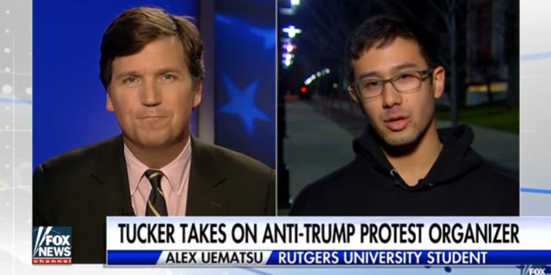 VIDEO: Tucker Carlson Cheerfully Takes Apart Anti-Trump Protester On Immigration