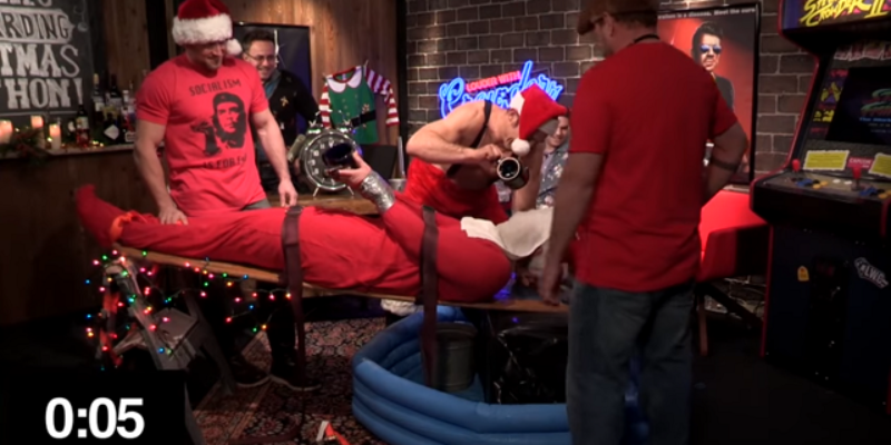 VIDEO: Watch Steven Crowder Get Waterboarded By A UFC Fighter For Christmas