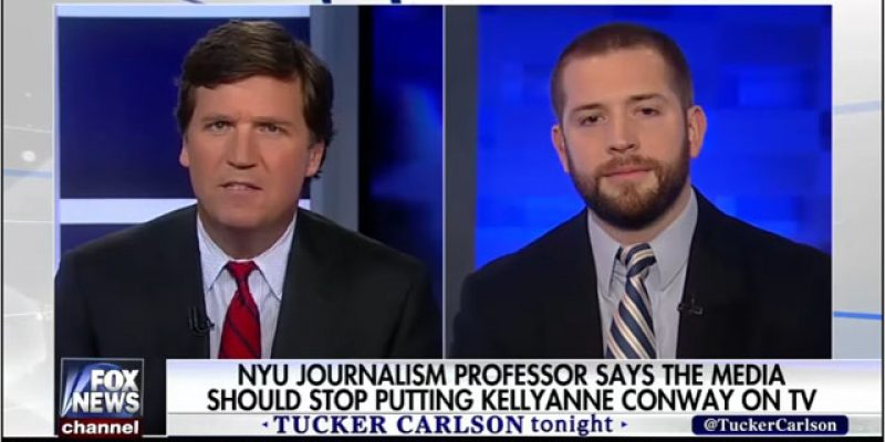 """VIDEO: Tucker Carlson Squints And Smiles At Overheated Millennial Reporter Who Demands Kellyanne Conway Be """"Shunned"""""""