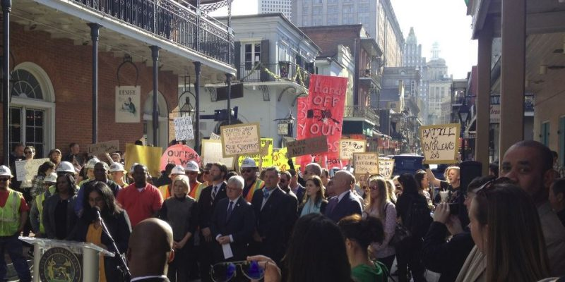 Press Conference for Bourbon Street Repaving Disaster Drowned Out by Strip Club Workers