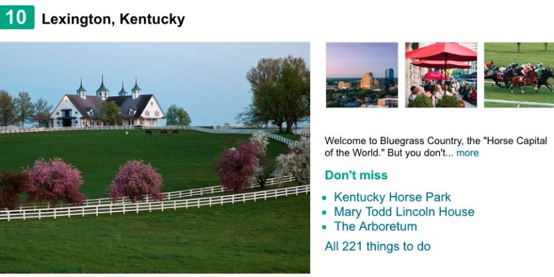 Lexington Makes TripAdvisor's Top Ten List of Destinations on the Rise in America