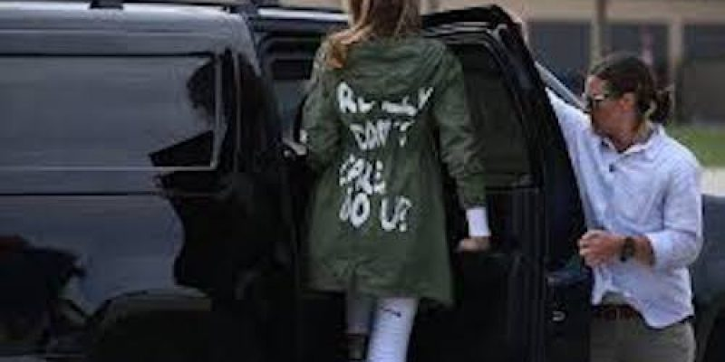 Melania tours Texas border facility, media can't get past her coat, but it's Zara's fault!