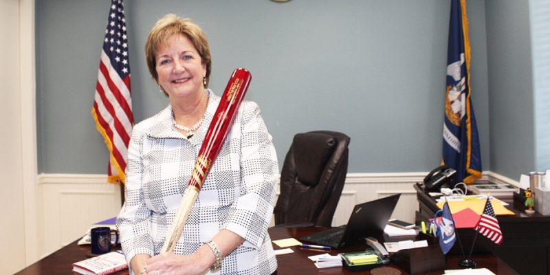 sharon hewitt with bat