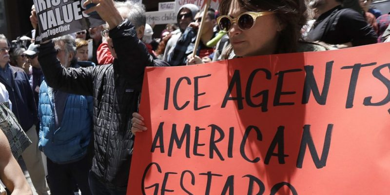 ICE Protesters call ICE agents N-gger, expletives [video]