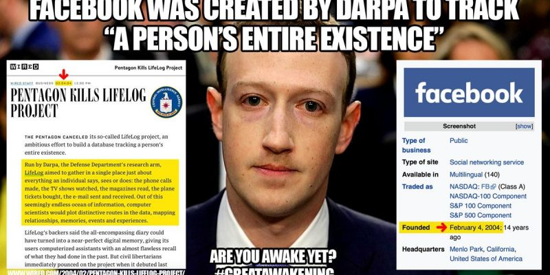 Is Facebook really DARPA, a government tool used to track 'a person's entire existence'?