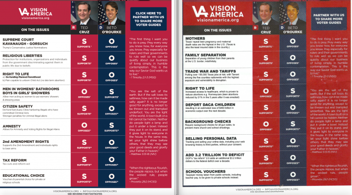 Fake voter guides sent to Texas churches