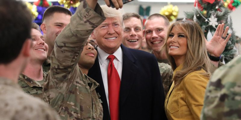 Melania is first FLOTUS to visit troops overseas, crowd cheers USA!!! USA!!! USA!!! [video]