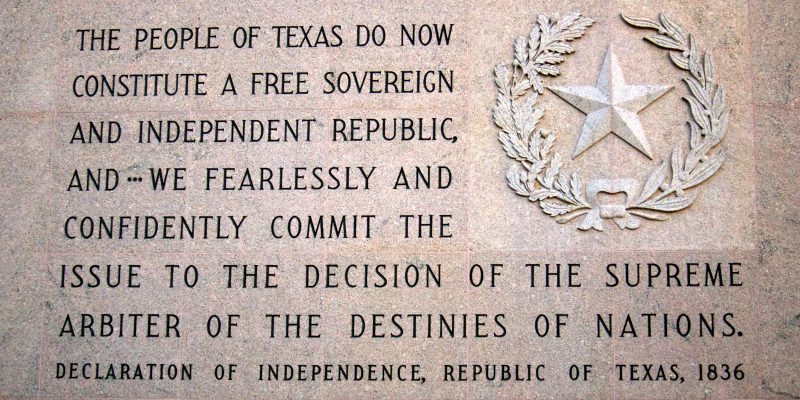 The Texas Declaration Of Independence, Signed Today 183 Years Ago