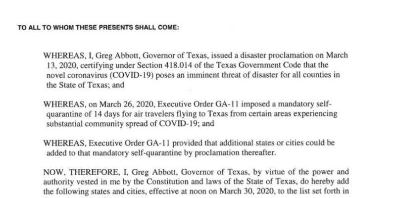 Abbott places further restrictions on travel to Texas