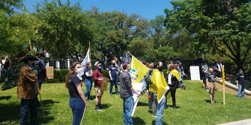 Texans Rally At Governor's Mansion to Reopen State