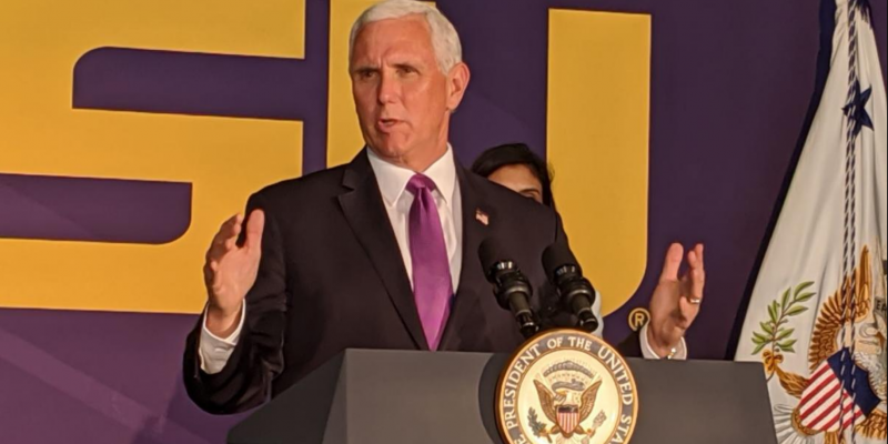 VP Mike Pence urges schools reopening, pledges federal support for Louisiana