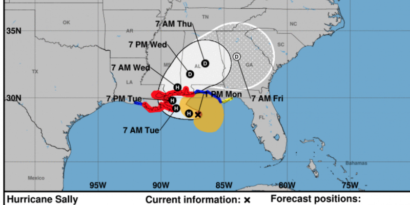 Hurricane Sally expected to make landfall Tuesday, Wednesday as Category 2 storm