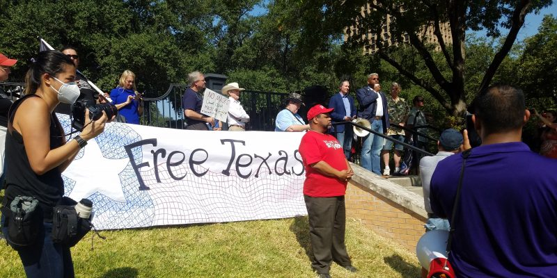 Dignitaries and Elected Officials Speak At Open Texas Rally At Texas Governor's Mansion