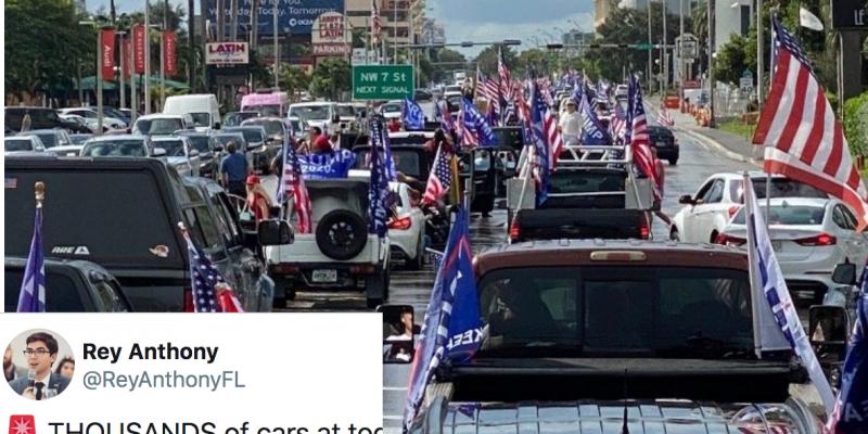 Miami PD estimates more than 30,000 cars participated in Latinos For Trump caravan in South Florida (videos)